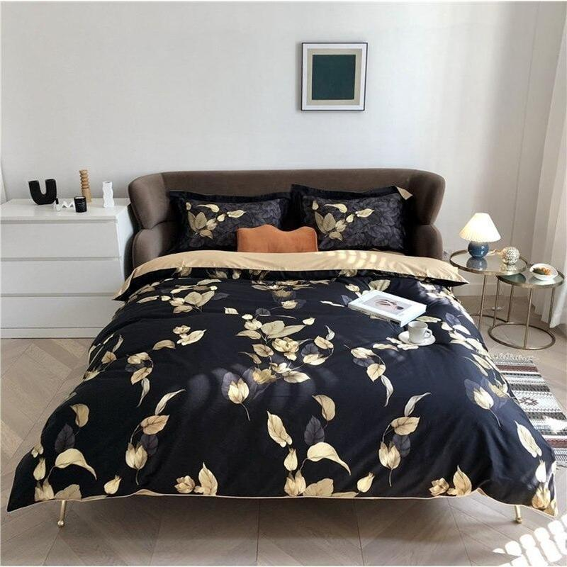 Silky Tropical Leaves Duvet Cover Set-Find Home Supplies
