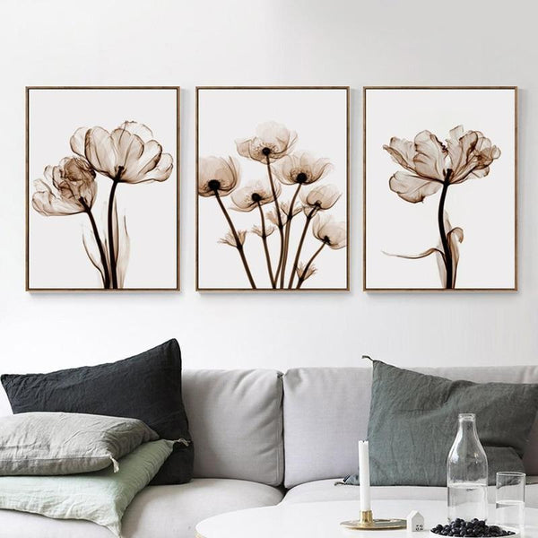Transparent Flowers Wall Poster-Find Home Supplies