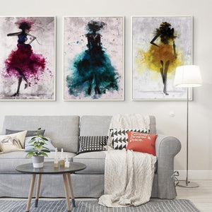 Watercolor Dancing Girl Wall Poster-Find Home Supplies