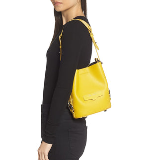 Small Utility Convertible Leather Bucket Bag | Yellow (CLEARANCE) - Susie O's Handbags