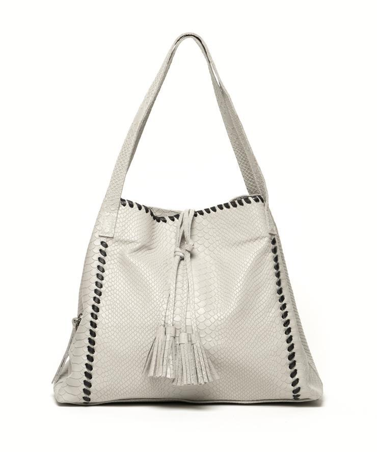 The Alexa | Light Grey Snake Embossed Leather - Susie O's Handbags