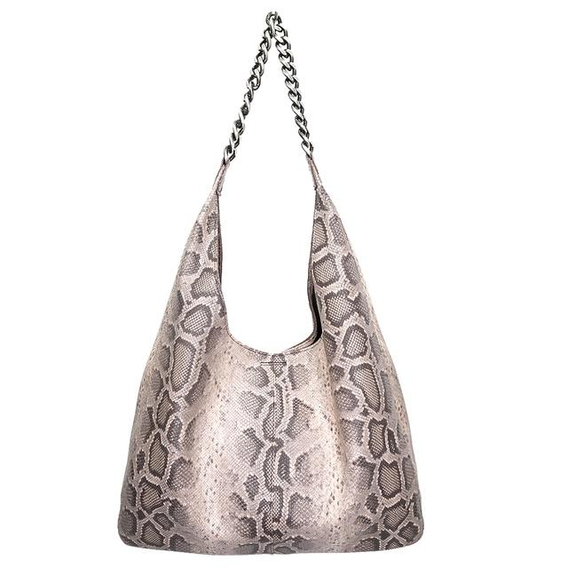 Hobo - Beige Snake Skin Italian Leather with Silver Chain - Susie O's Handbags