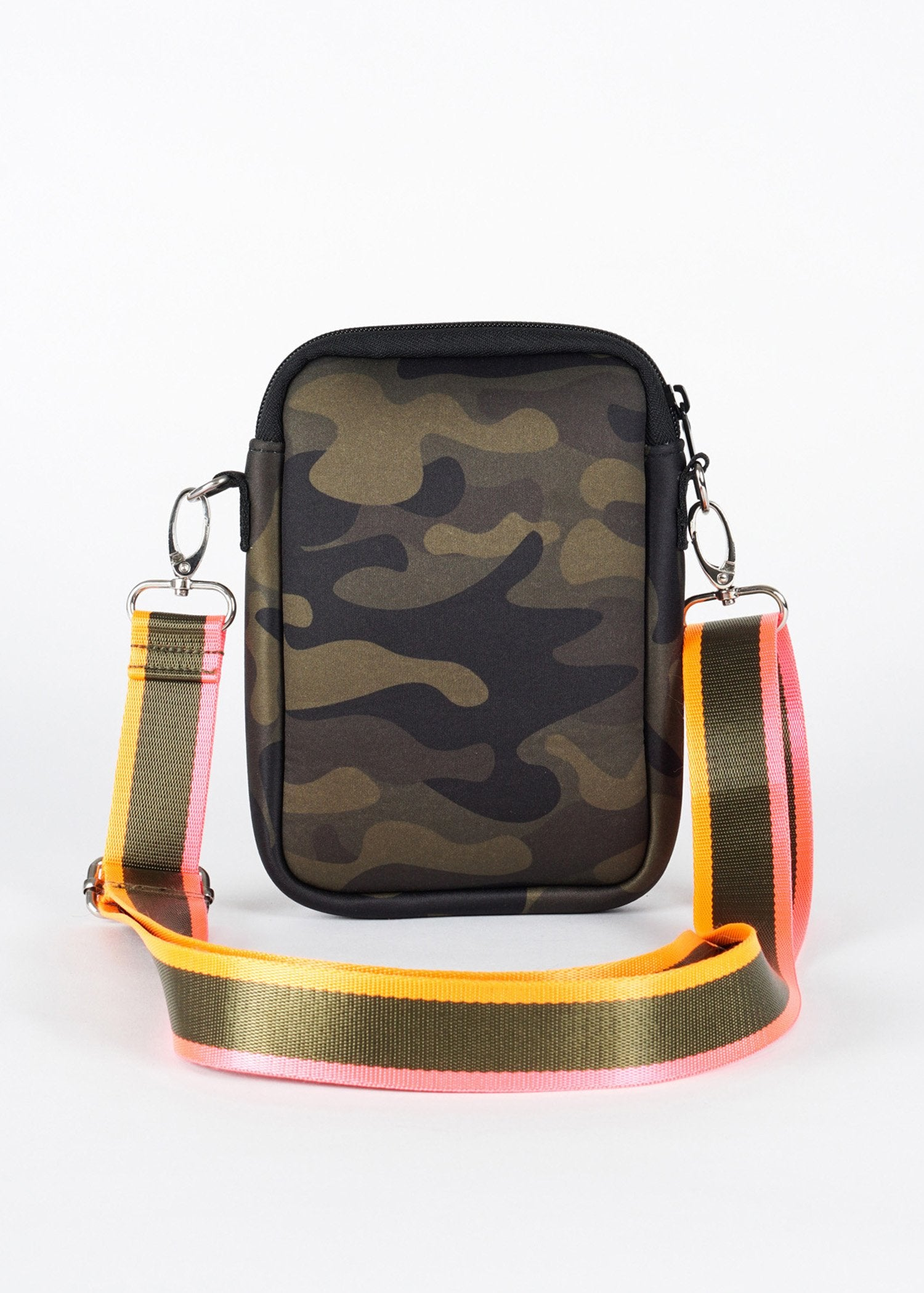 Casey Cell Phone Crossbody Bag | Green Camo w/ Pink & Orange Stripe - Susie O's Handbags
