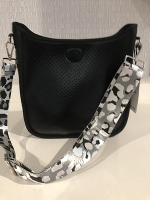 Large Perforated Neoprene Messenger | Black with Leopard Guitar Strap - Susie O's Handbags