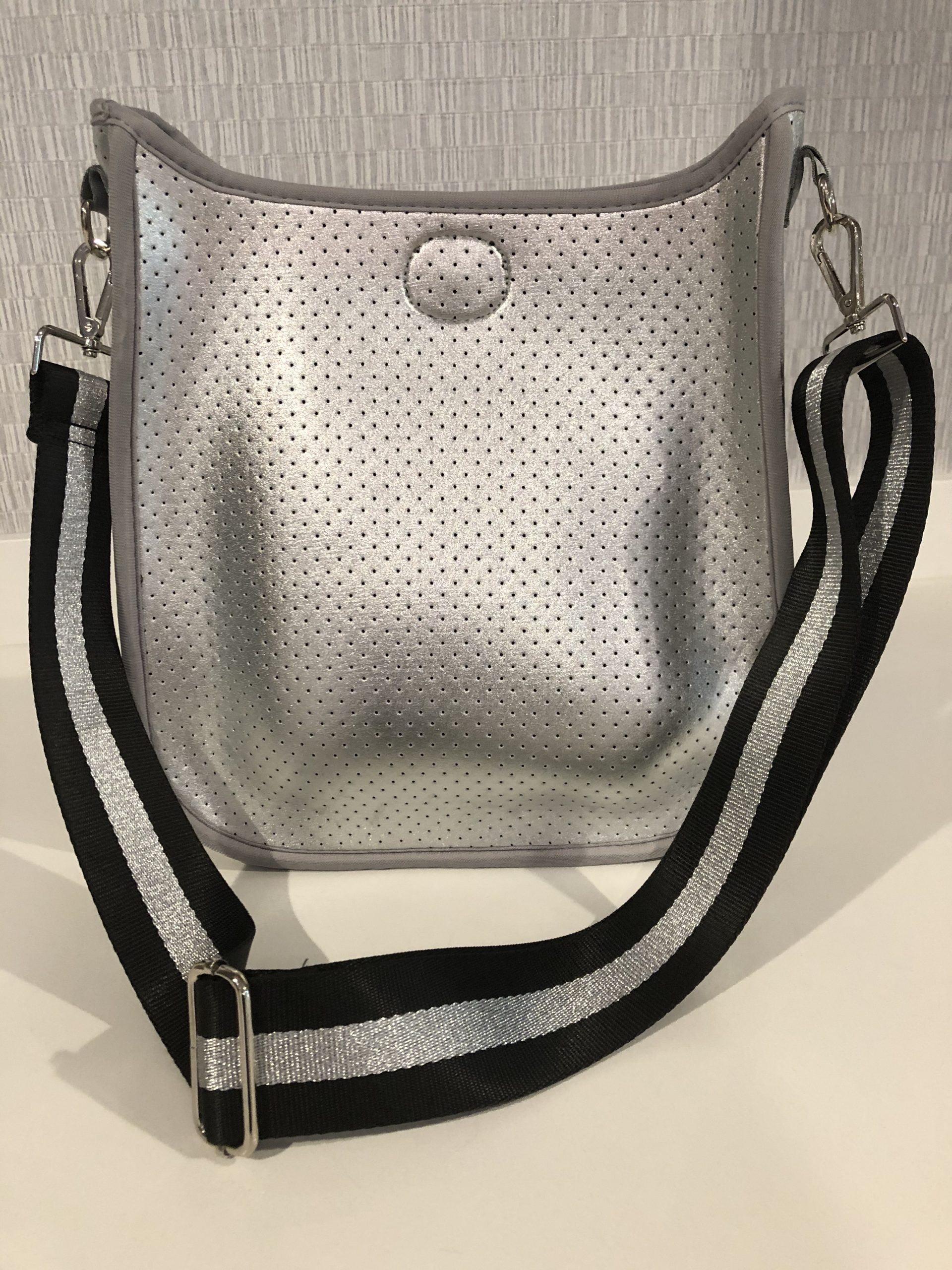 Large Perforated Vegan Leather Messenger- Silver with Silver/Black Stripe Guitar Strap - Susie O's Handbags