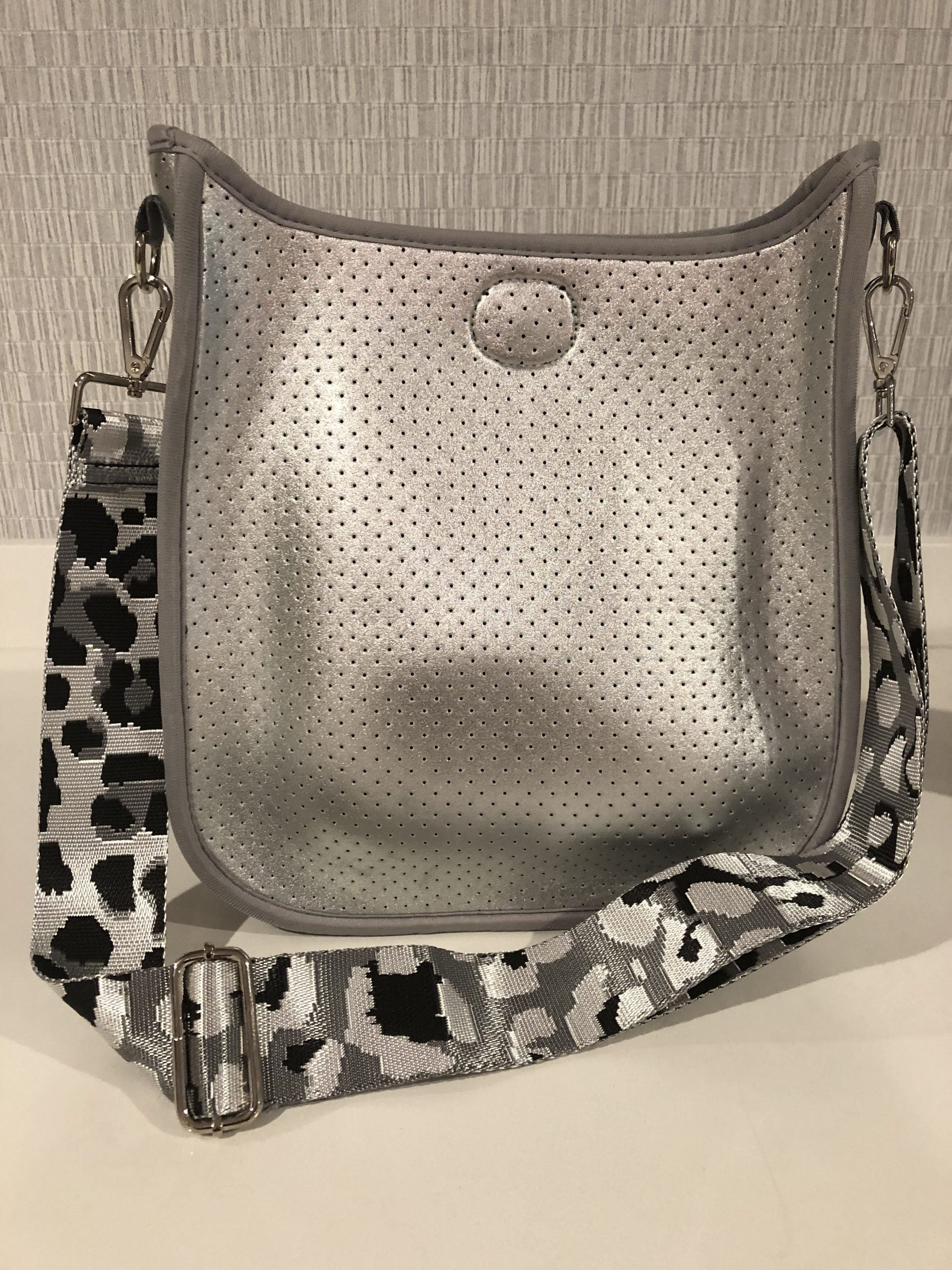 Large Perforated Vegan Leather Messenger- Silver with Leopard Guitar Strap - Susie O's Handbags