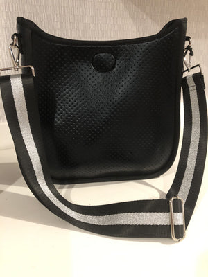 Large Perforated Vegan Leather Messenger- Black with Silver/Black Stripe Guitar Strap - Susie O's Handbags