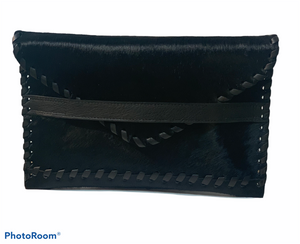 Polka Envelope Clutch | Black Haircalf