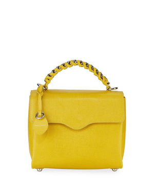 Chain Satchel-Sunflower Embossed Lizard - Susie O's Handbags