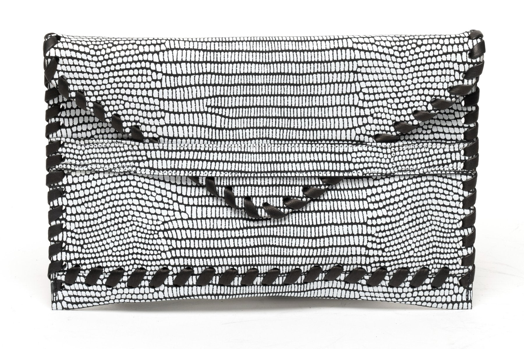 Polka Envelope Clutch | White Lizard - Susie O's Handbags