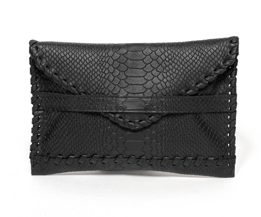 Polka Envelope Clutch | Black Embossed Snake - Susie O's Handbags