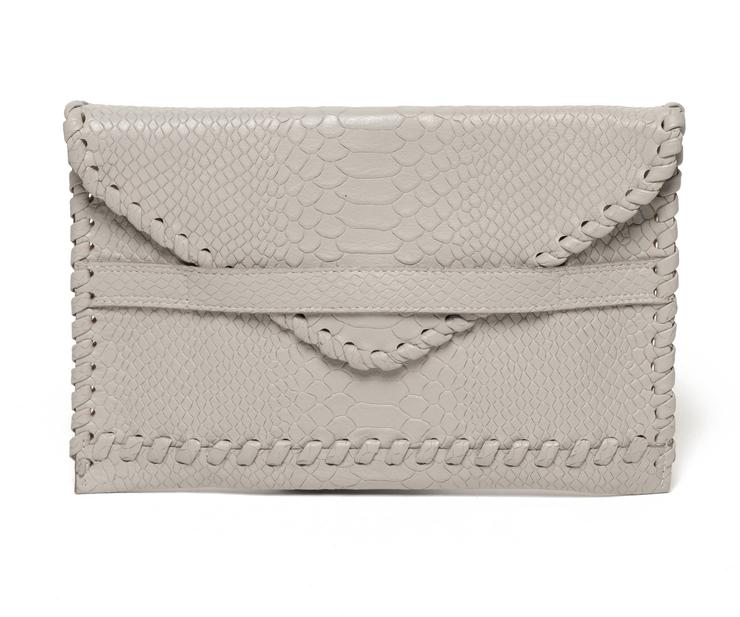 Polka Envelope Clutch | Light Grey - Susie O's Handbags