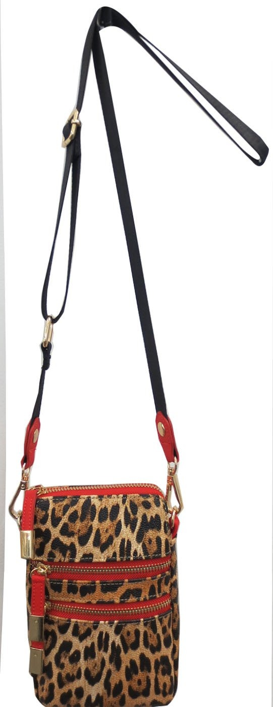 Cell Phone Crossbody - Leopard with Red Trim - Susie O's Handbags