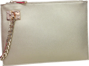 Wristlet with Chain Detail | Metallics