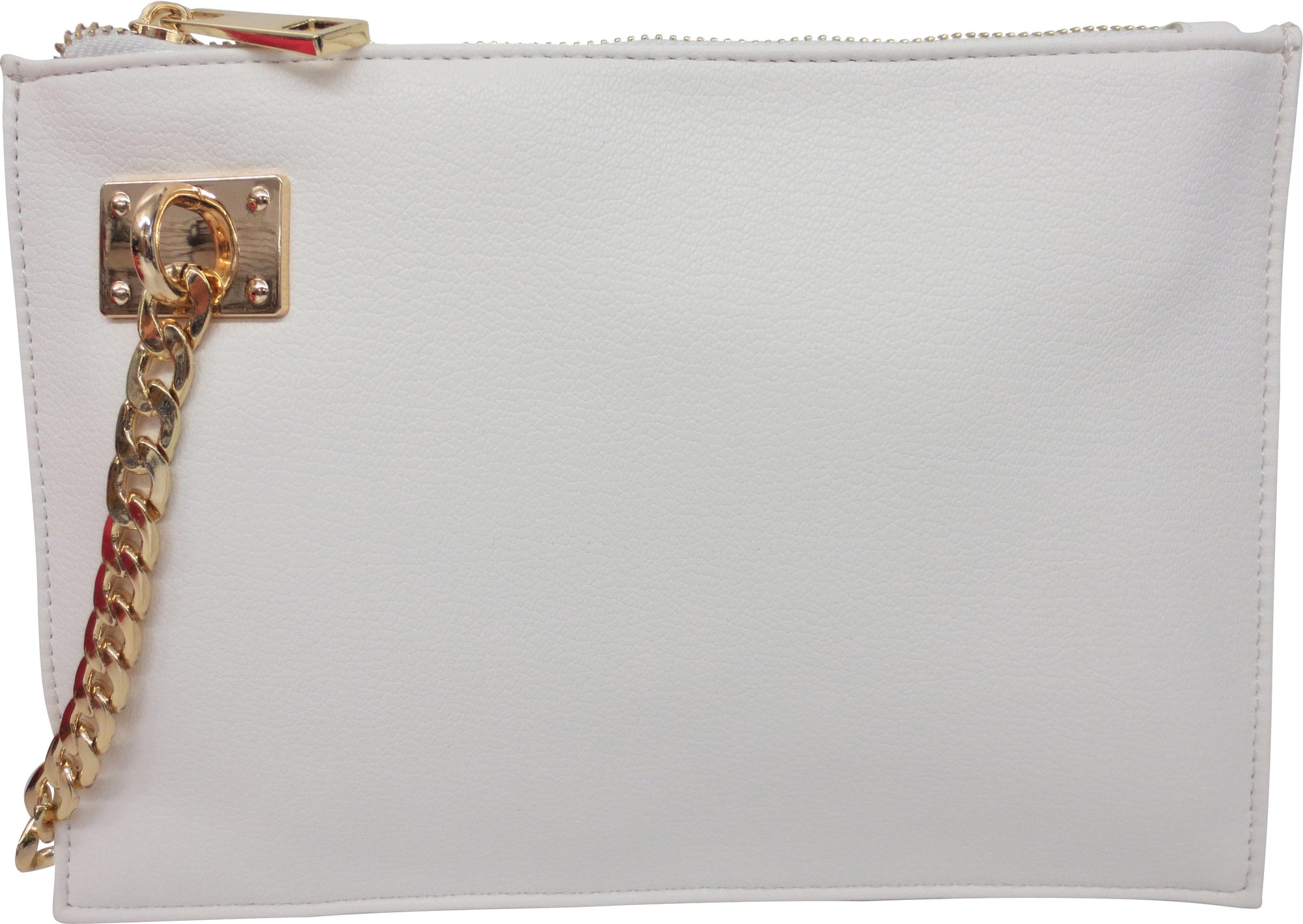 Wristlet with Chain Detail | White (CLEARANCE) - Susie O's Handbags
