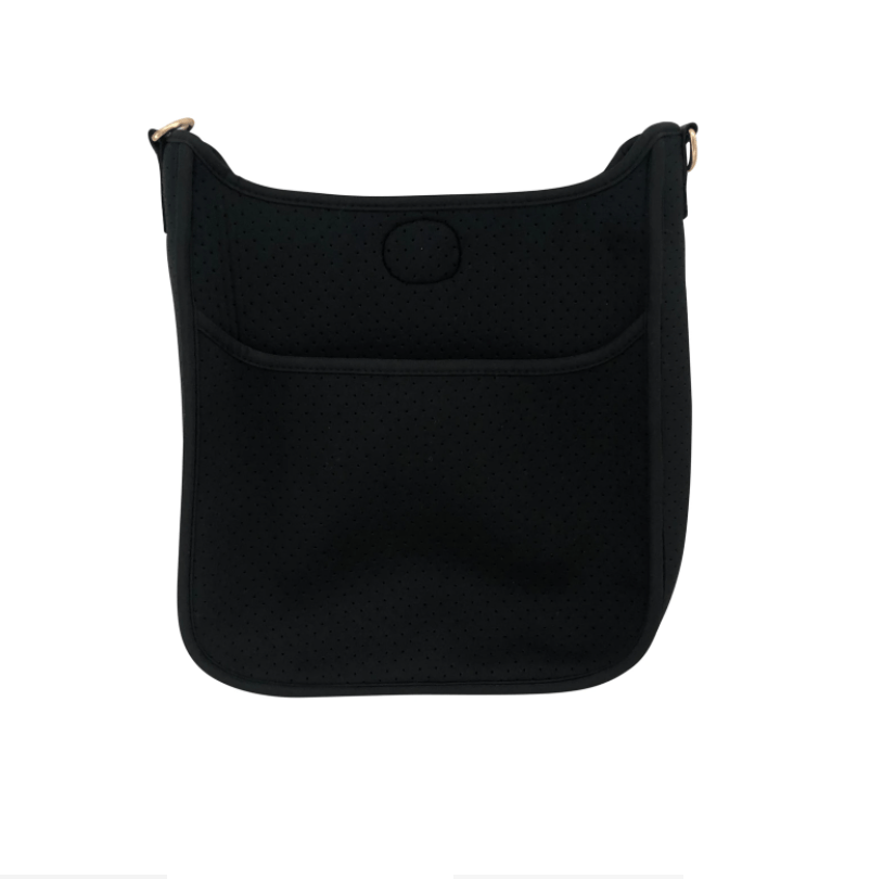 Large Perforated Vegan Leather Messenger- Black with Leopard Guitar Strap - Susie O's Handbags