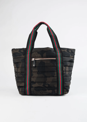 Quilted Tote | Camo with Red Trim - Susie O's Handbags