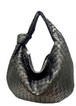 Woven Hobo with Knot | Black - Susie O's Handbags