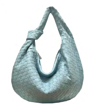 Woven Hobo with Knot | Powder Blue - Susie O's Handbags