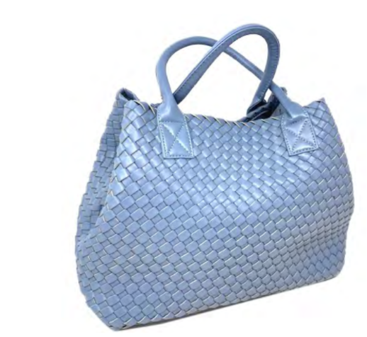 Woven Tote | Powder Blue - Susie O's Handbags