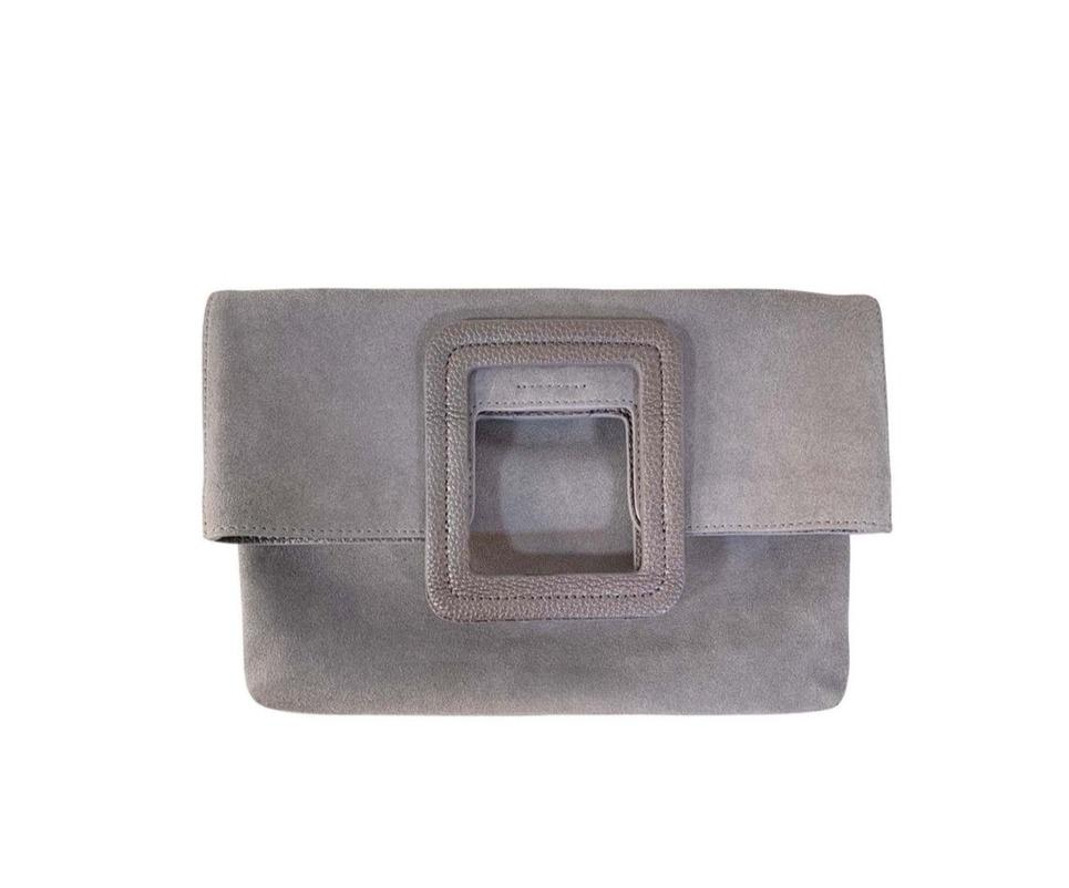 Milo Suede Fold Over Clutch & Crossbody | Grey - Susie O's Handbags