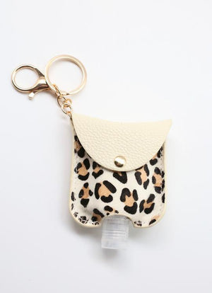 Animal Print Sanitizer Keychain | Ivory - Susie O's Handbags