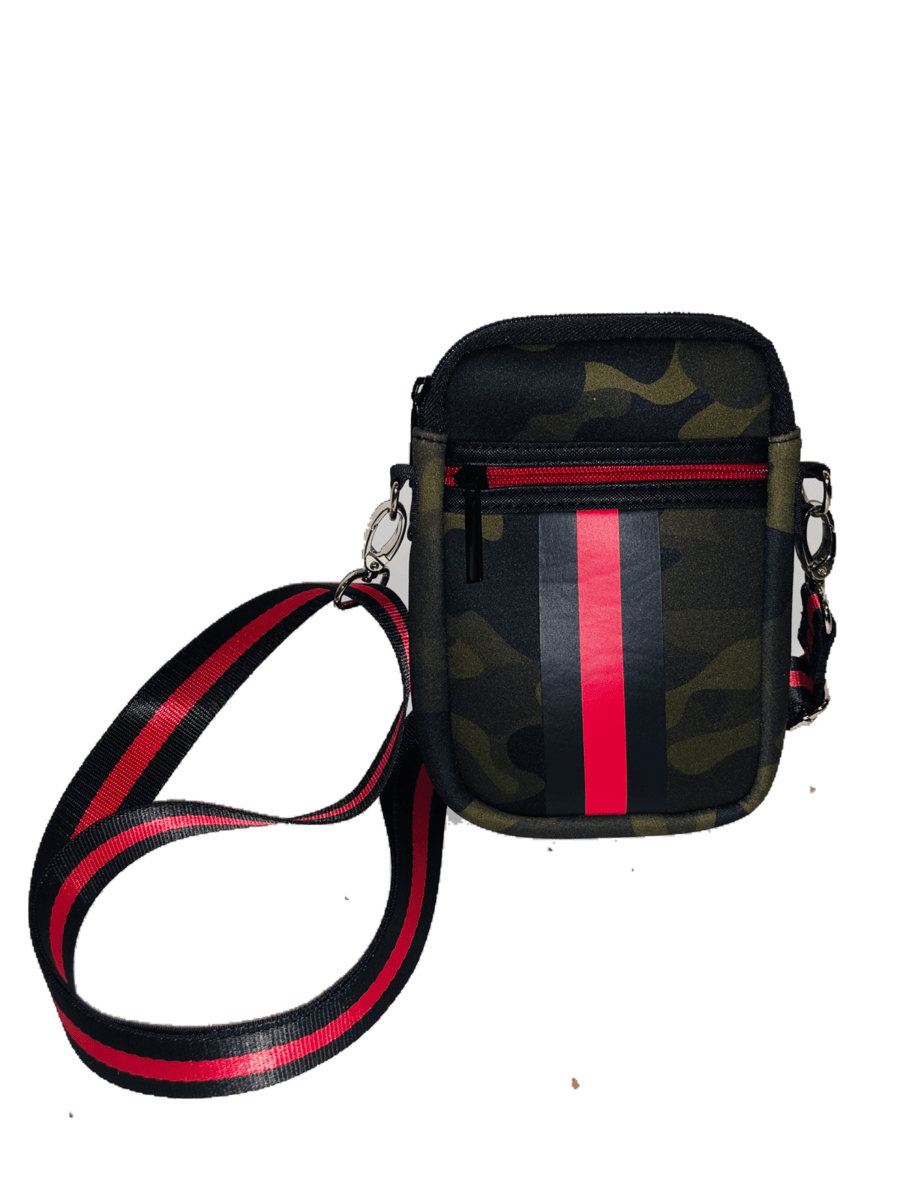 Casey Cell Phone Crossbody Bag | Green Camo w/ Red & Black Stripe - Susie O's Handbags