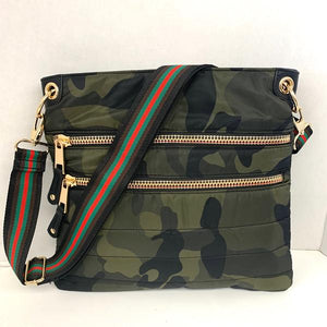 N/S Quilted Crossbody | Camo with Red Trim