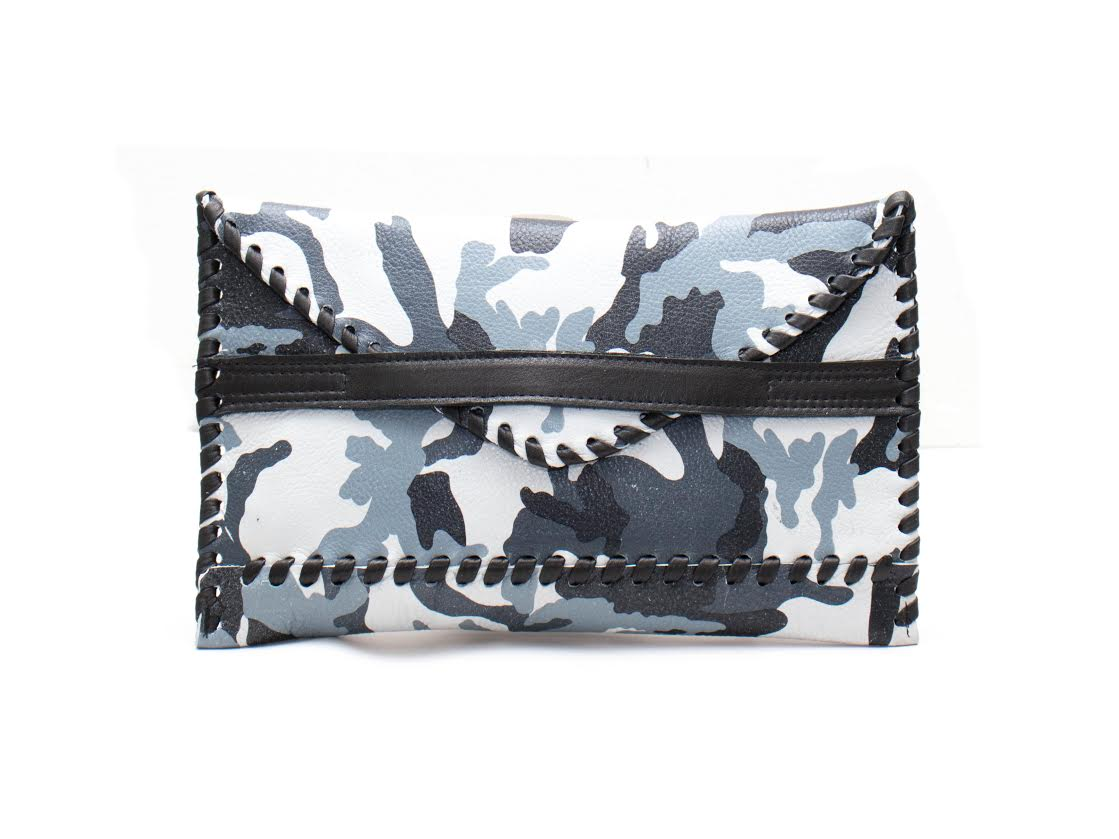 Polka Envelope Clutch | Camo - Susie O's Handbags