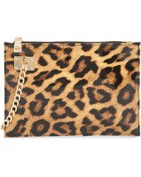 Wristlet with Chain Detail | Leopard - Susie O's Handbags