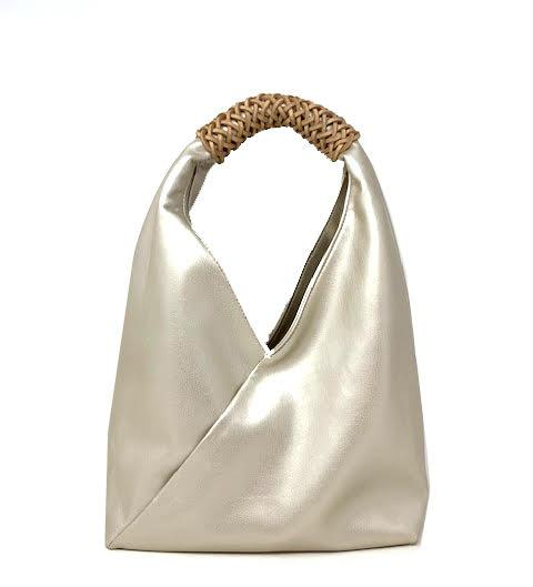 Sling Hobo with Wrap Leather Accent | Champagne (CLEARANCE) - Susie O's Handbags