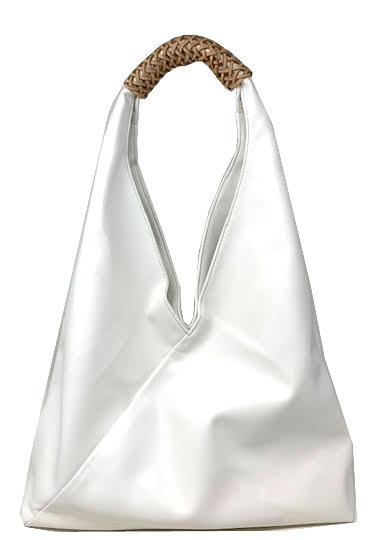 Sling Hobo with Wrap Leather Accent | White (CLEARANCE) - Susie O's Handbags