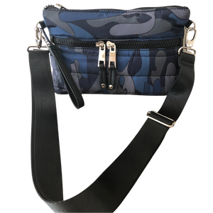 Mini Puffer Crossbody | Blue Camo (SOLD OUT) - Susie O's Handbags