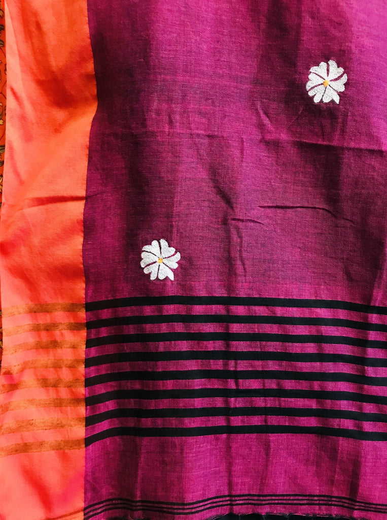 Black Orange-Pink Border Shiuli Saree