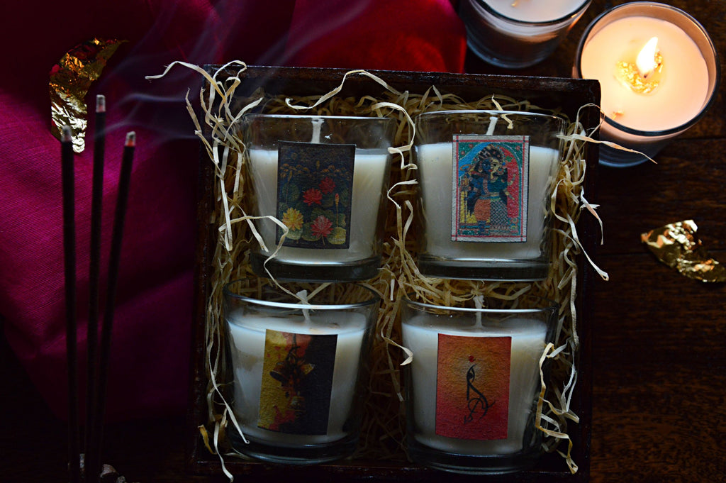 Festive Lumineries Pujo Votives in a Wooden Box