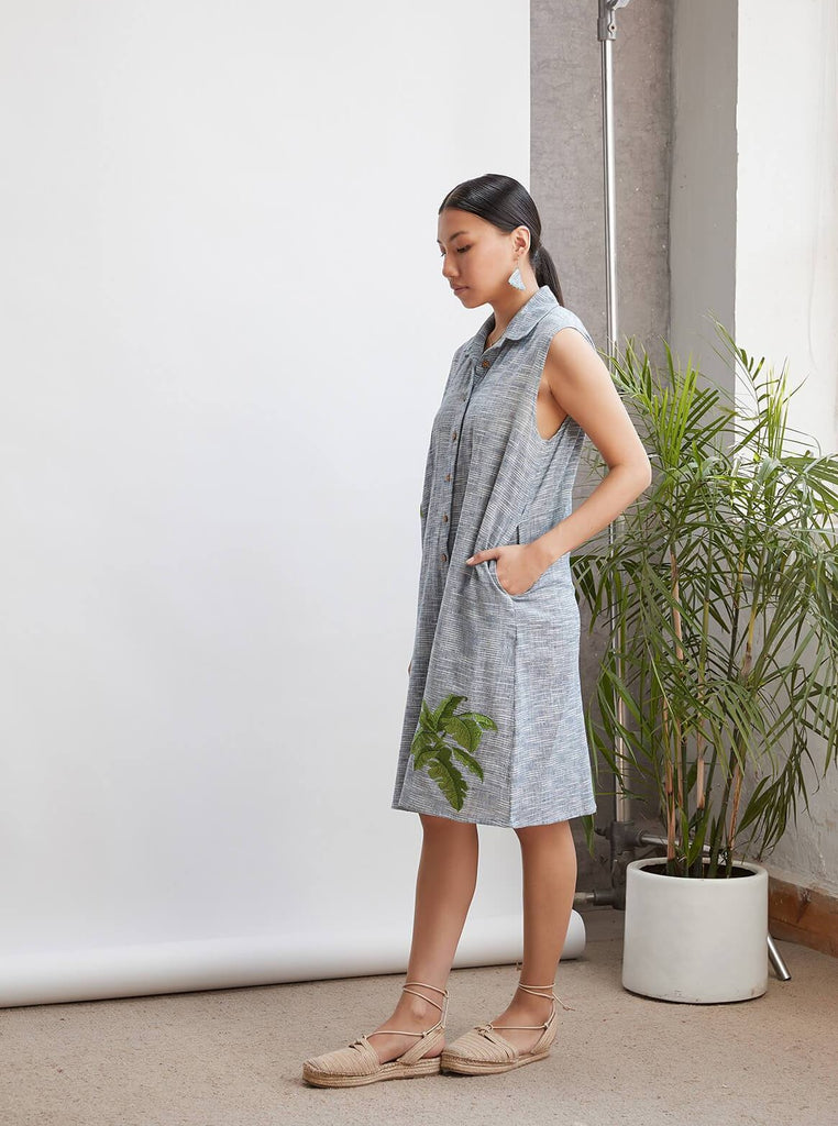Palm By The Ocean Sleeveless Handwoven Cotton Shirtdress