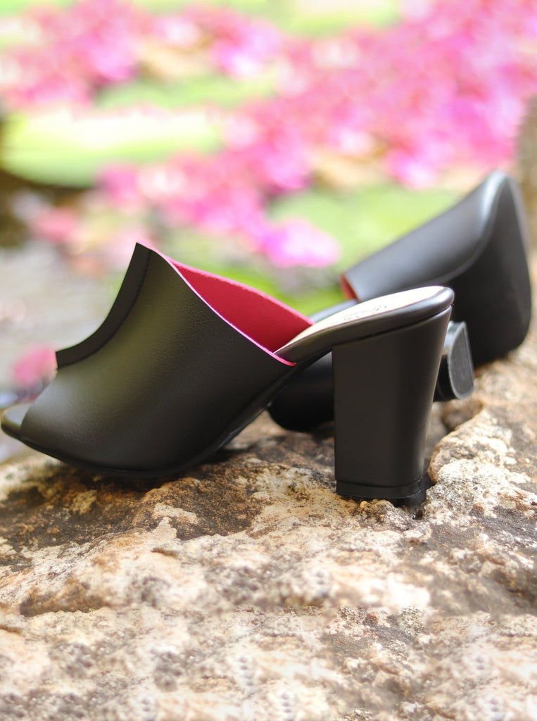 Two Toned Mules in Black