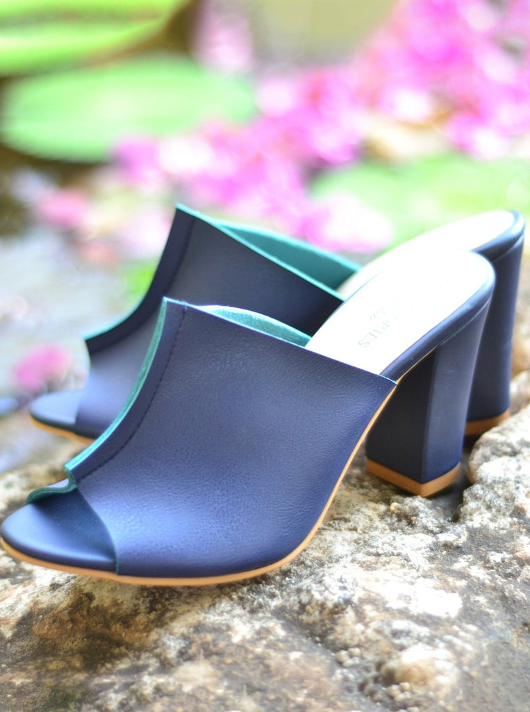 Two Toned Mules in Blue