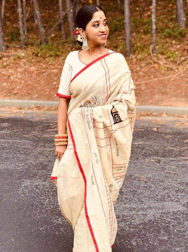 White Kumortuli Map Saree