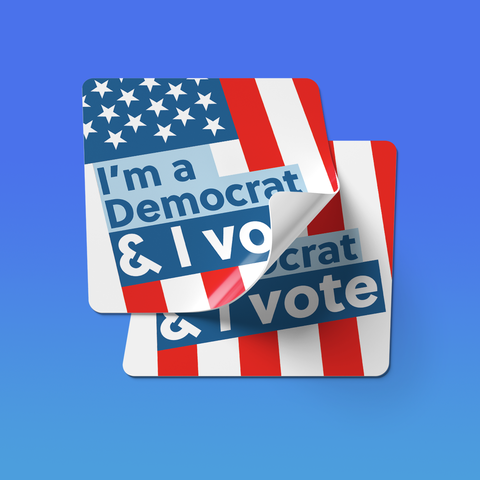 I'm a Democrat and I vote 2-Sticker Pack