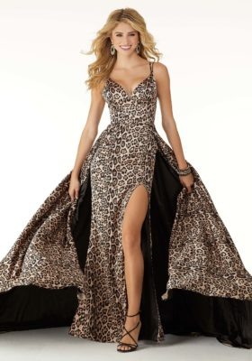 Fitted Leopard Print Prom Dress