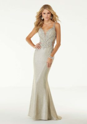 Iridescent Jersey Fitted Prom Dress