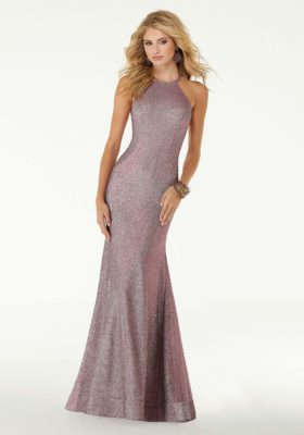 Iridescent Fitted Jersey Prom Dress