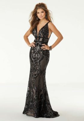 Patterned Sequin Prom Dress