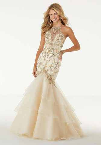 Jeweled Beaded Organza Dress
