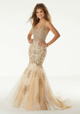 Glitter Lace Mermaid Prom Dress