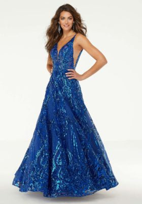 Patterned Sequin A-Line Prom Dress