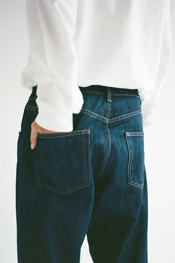 oftt often raw denim jeans and jacket grown with rainwater