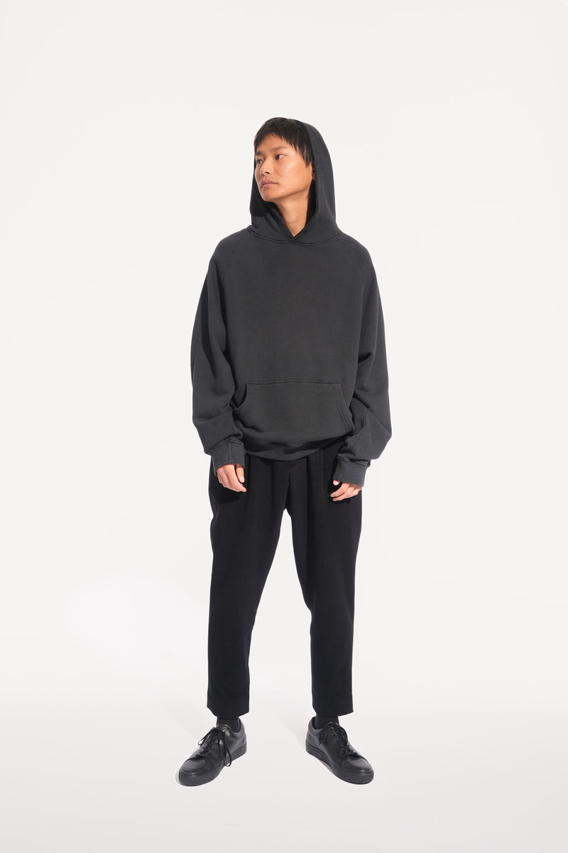 oftt - 03 - heavyweight hooded sweatshirt - black - organic cotton fleece - image 7