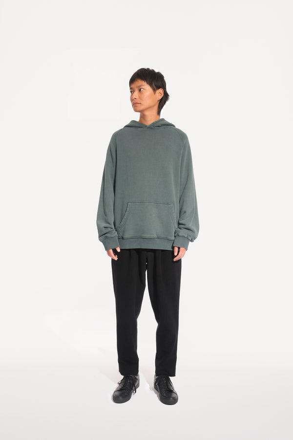 oftt - 03 - heavyweight hooded sweatshirt - green - organic cotton fleece - image 1